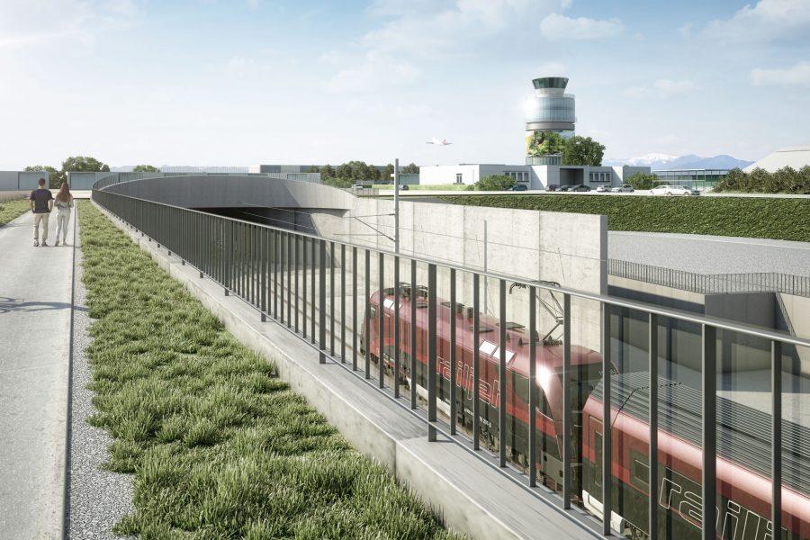 Unterflurtrasse Koralmbahn, Flughafen Graz 6