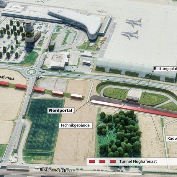 Unterflurtrasse Koralmbahn, Flughafen Graz 4