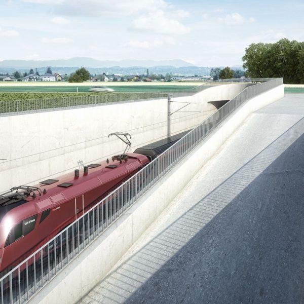 Unterflurtrasse Koralmbahn, Flughafen Graz 1