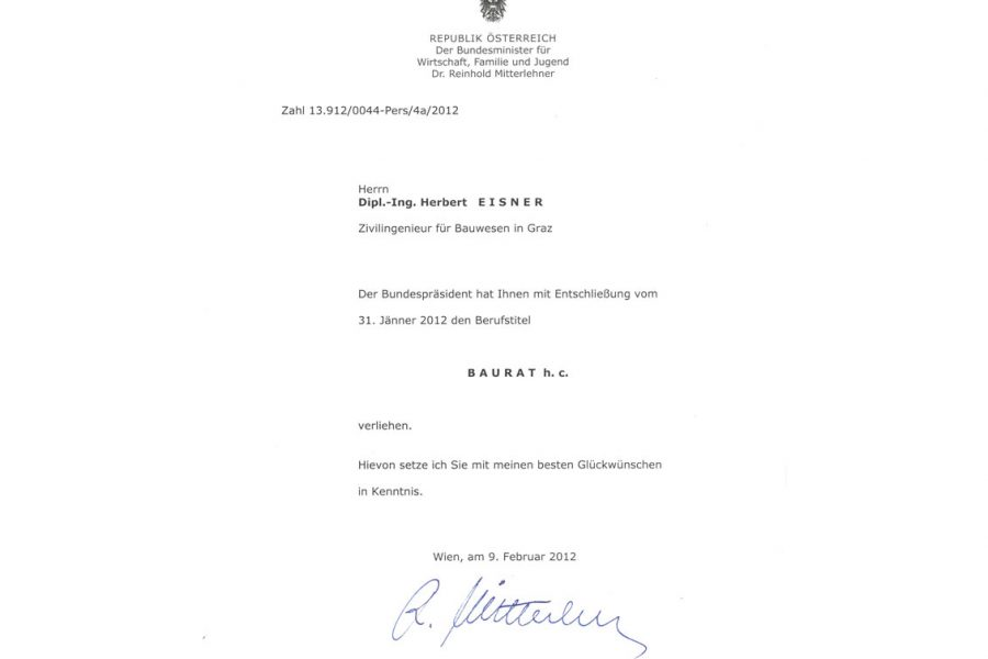 Abbildung des Berufstitel Baurat an Dipl.-Ing. Herbert Eisner