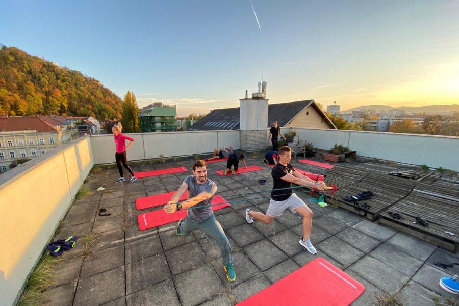 Foto vom Eisner ZT Team beim Training am Dach