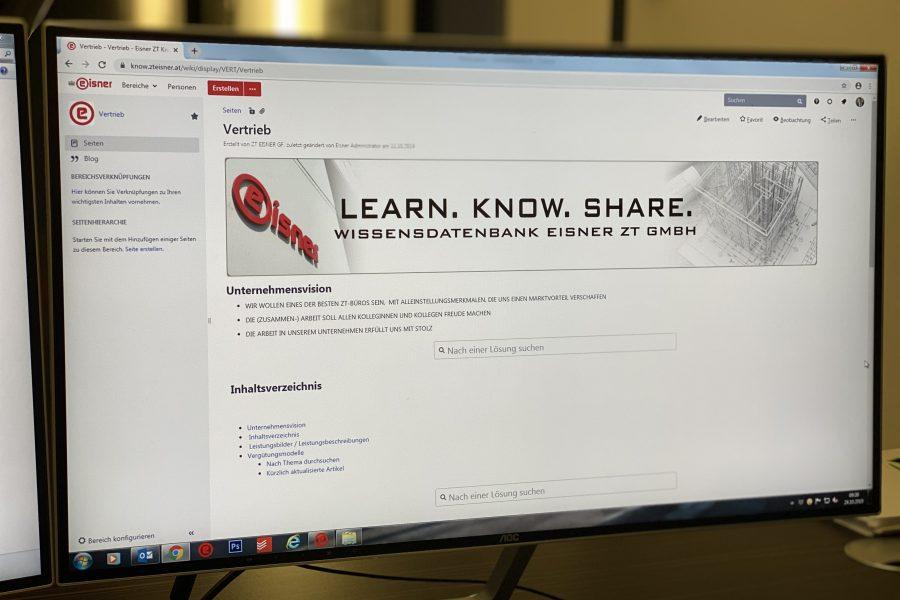 Foto von Computerscreen mit Eisner Ziviltechnik Wissensdatenbank