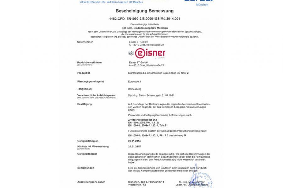 Abbildung des EN 1090 Zertifikat für Stahlbau-Bemessung
