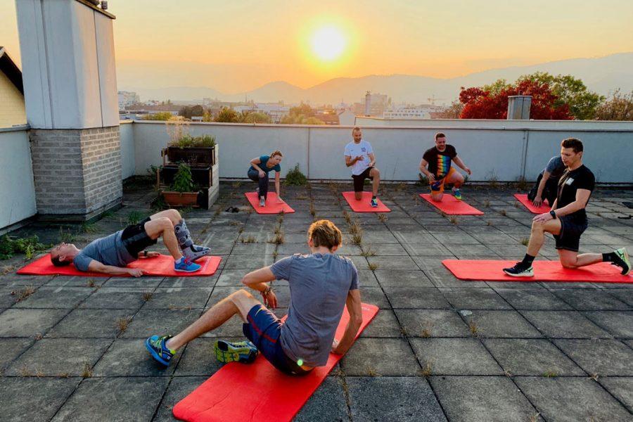 Foto beim Rooftop Training nach der Arbeit