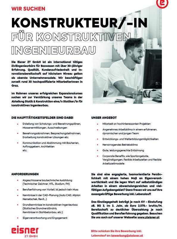 2021_KonstrukteurIn_konstruktiver Ingenieurbau_Stellenangebot_Eisner ZT gmbH