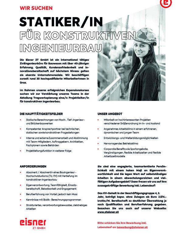 StatikerIn_Tragwerksplaner_Projektleiter_Eisner ZT GmbH