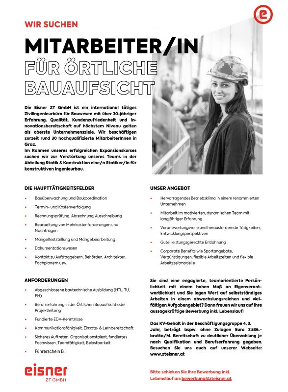 Mitarbeiter/in für die Örtliche Bauaufsicht